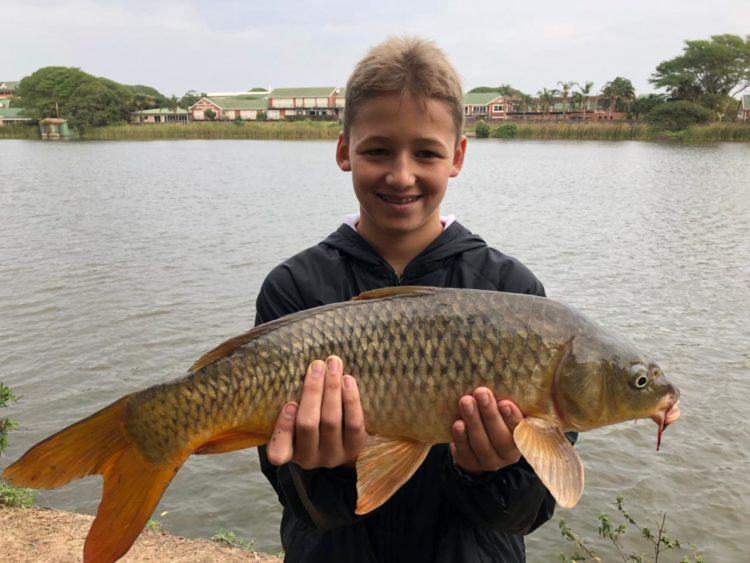 Pic of my Grandson, Bryce, with the Carp that he caught in Mt Edgecombe recently…excellent fig